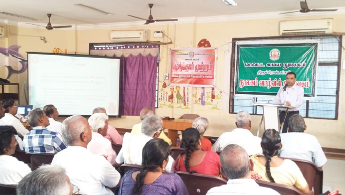 Dr.S.Ramasamy is addressing the senior citizen during his talk on District central library Tiruchy on 18th December 2019.