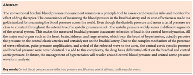 First Review article on Central Aortic Blood pressure